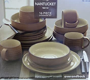Over and Back Nantucket 16 Piece Dinnerware Set Amazon.co.uk Kitchen u0026 Home & Over and Back Nantucket 16 Piece Dinnerware Set: Amazon.co.uk ...