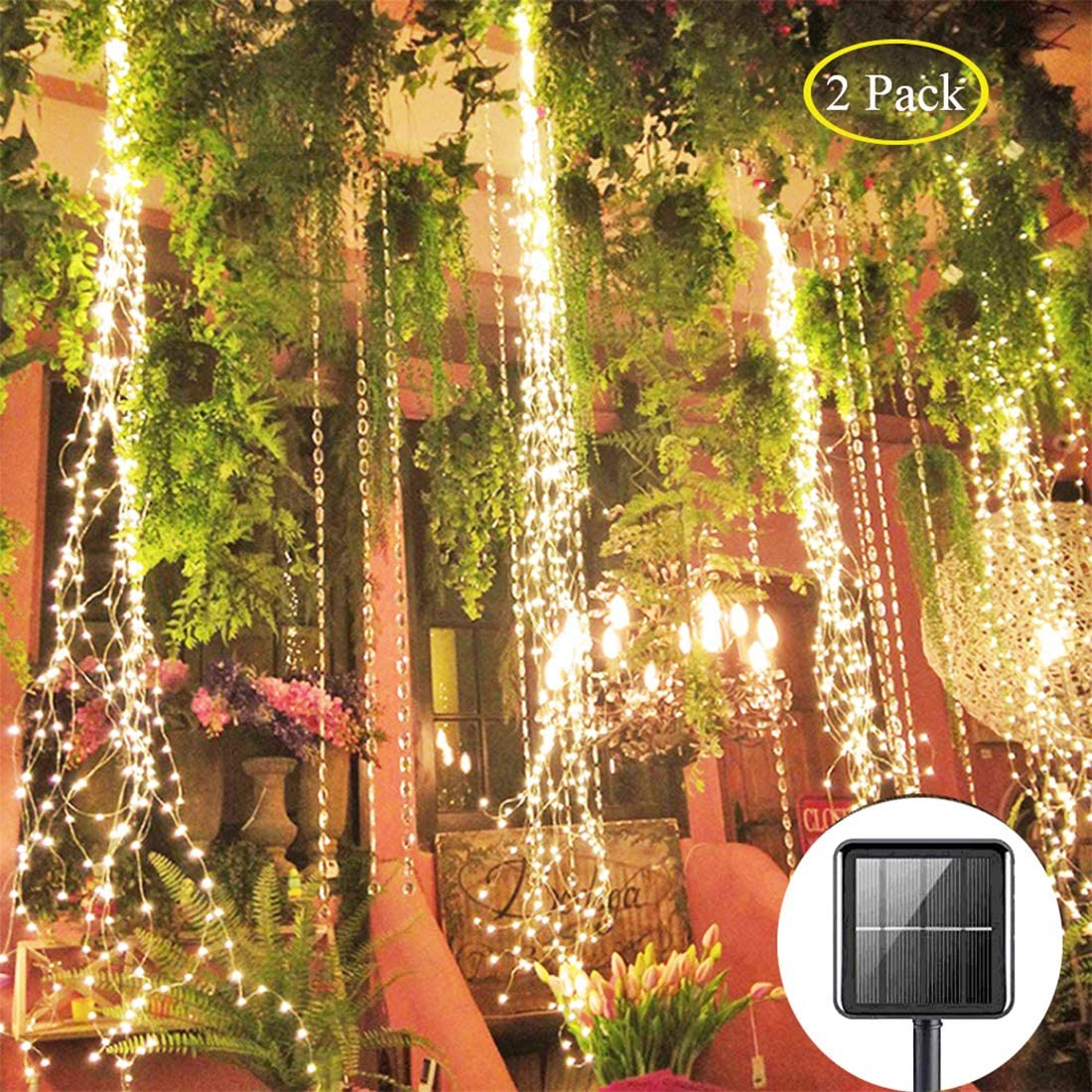 PXB 2 Pack 220 LED Firefly Bunch Lights, 8 Flashing Modes Waterproof Copper Wire Waterfall Lights, Fairy Lights for Vine Watering Can Christmas Bedroom Indoor Outdoor Decor Lights Solar Warm White