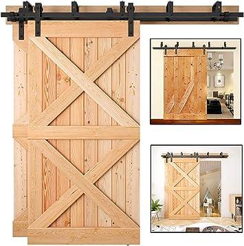 Double Door Sliding Barn Door Hardware with J Shape Hangers 2 x 5 foot Rail