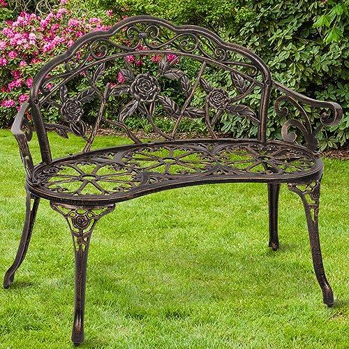 Patio Park Metal Bench Outdoor Garden Bench Romantic Rose Bronze Porch Chair, Antique Finish Carving Design Outside Patio Furniture Bronze Park Bench for Park Yard Lawn Deck