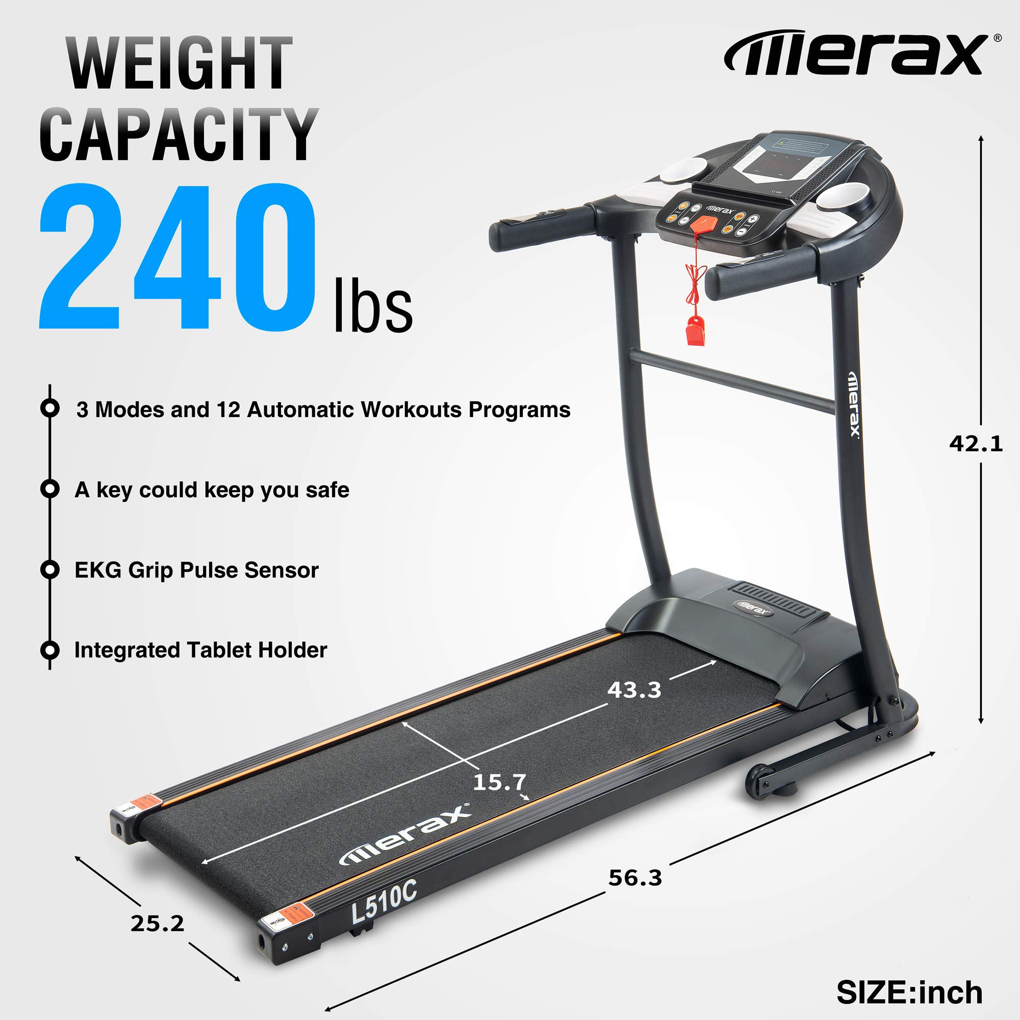Merax Easy Assembly Folding Electric Treadmill Motorized Running Machine by Merax (Image #2)