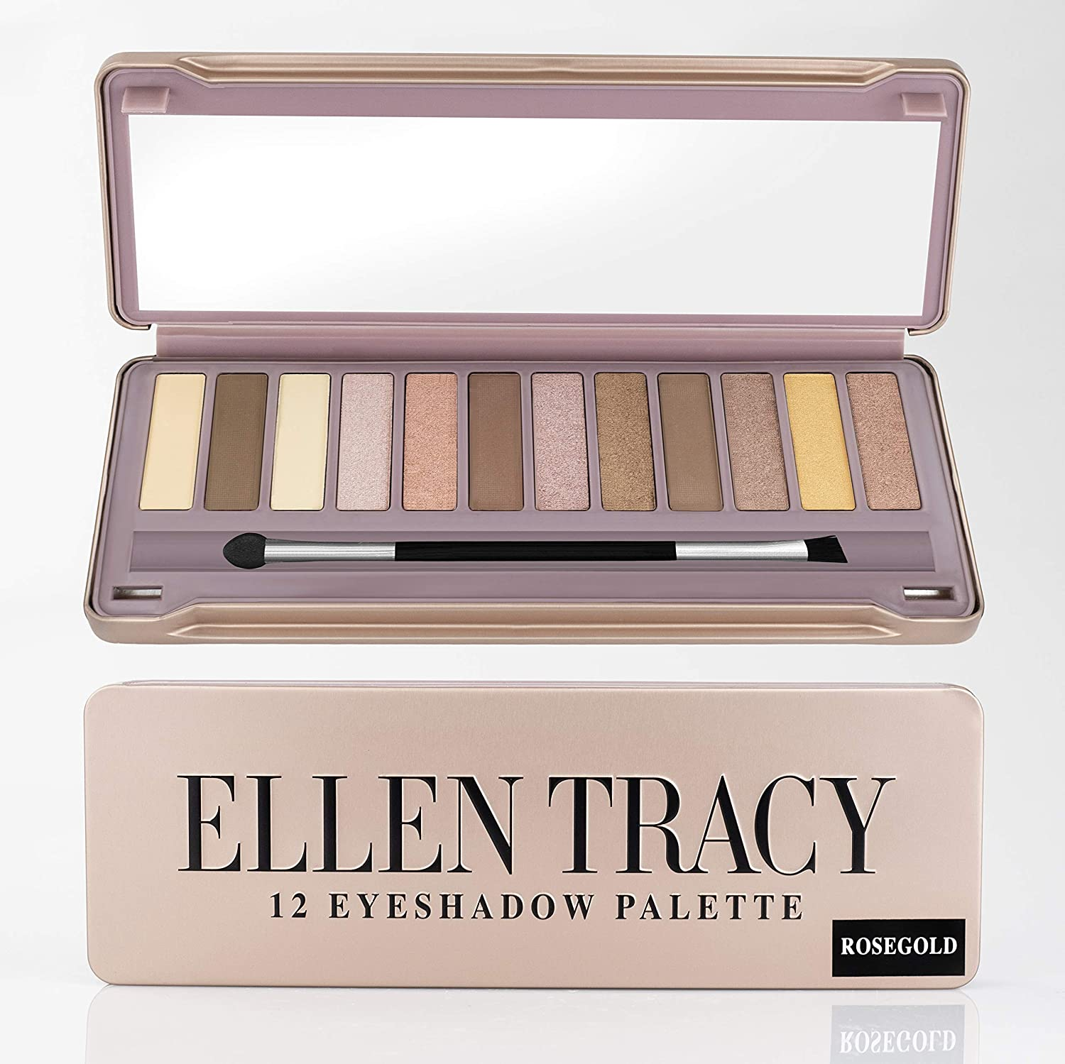 Ellen Tracy Luxurious 12 Well Eye Shadow Palette In Tin Box Easy To Apply Everyday Wear For Women Teen Girls Rose Gold Colors Blushed Glowing
