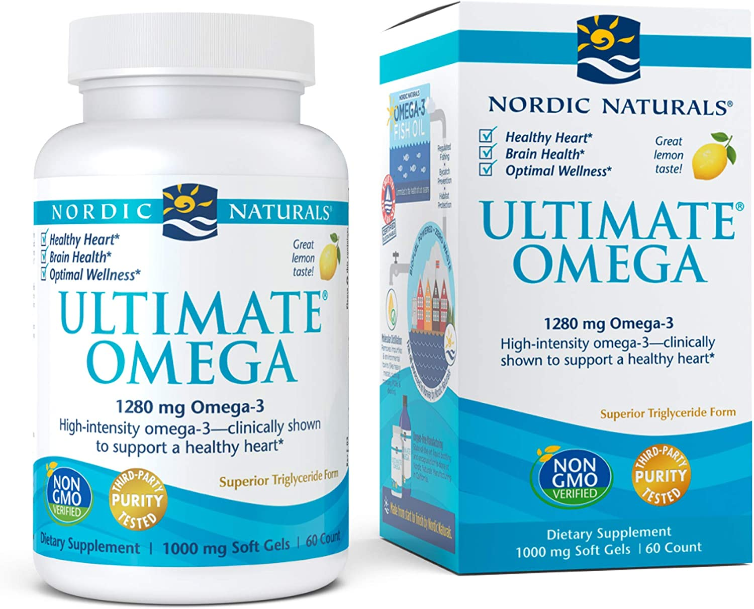 Nordic Naturals, Ultimate Omega, Fish Oil Supplement with Omega-3 DHA and EPA, Supports Heart Health and Brain Development, Burpless Lemon Flavor, (30 servings) 60 soft gels