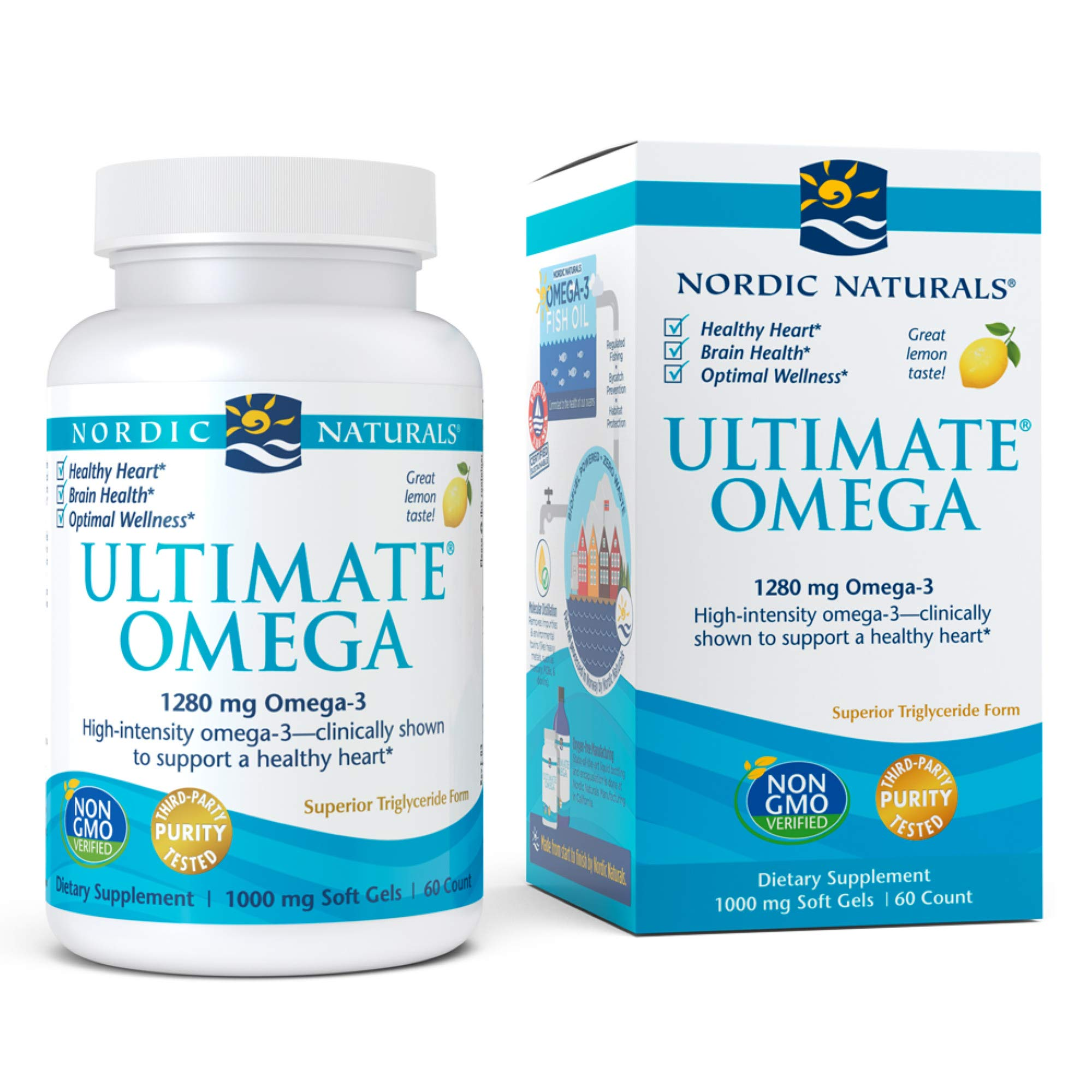 Nordic Naturals, Ultimate Omega, Fish Oil Supplement with Omega-3 DHA and EPA, Supports Heart Health and Brain Development, Burpless Lemon Flavor, (30 servings) 60 soft gels by Nordic Naturals