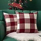 MIULEE Pack of 2 Classic Retro Checkers Plaids Cotton Linen Soft Soild Decorative Square Throw Pillow Covers Home Decor…