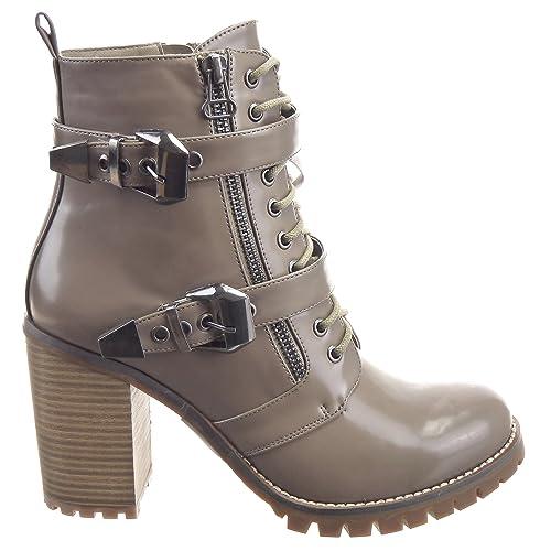 Sopily - Zapatillas de Moda Botines Low boots Tobillo mujer Hebilla Cremallera 9 CM - plantilla textil - Caqui WL-301-27 T 41 - UK 8: Amazon.es: Zapatos y ...