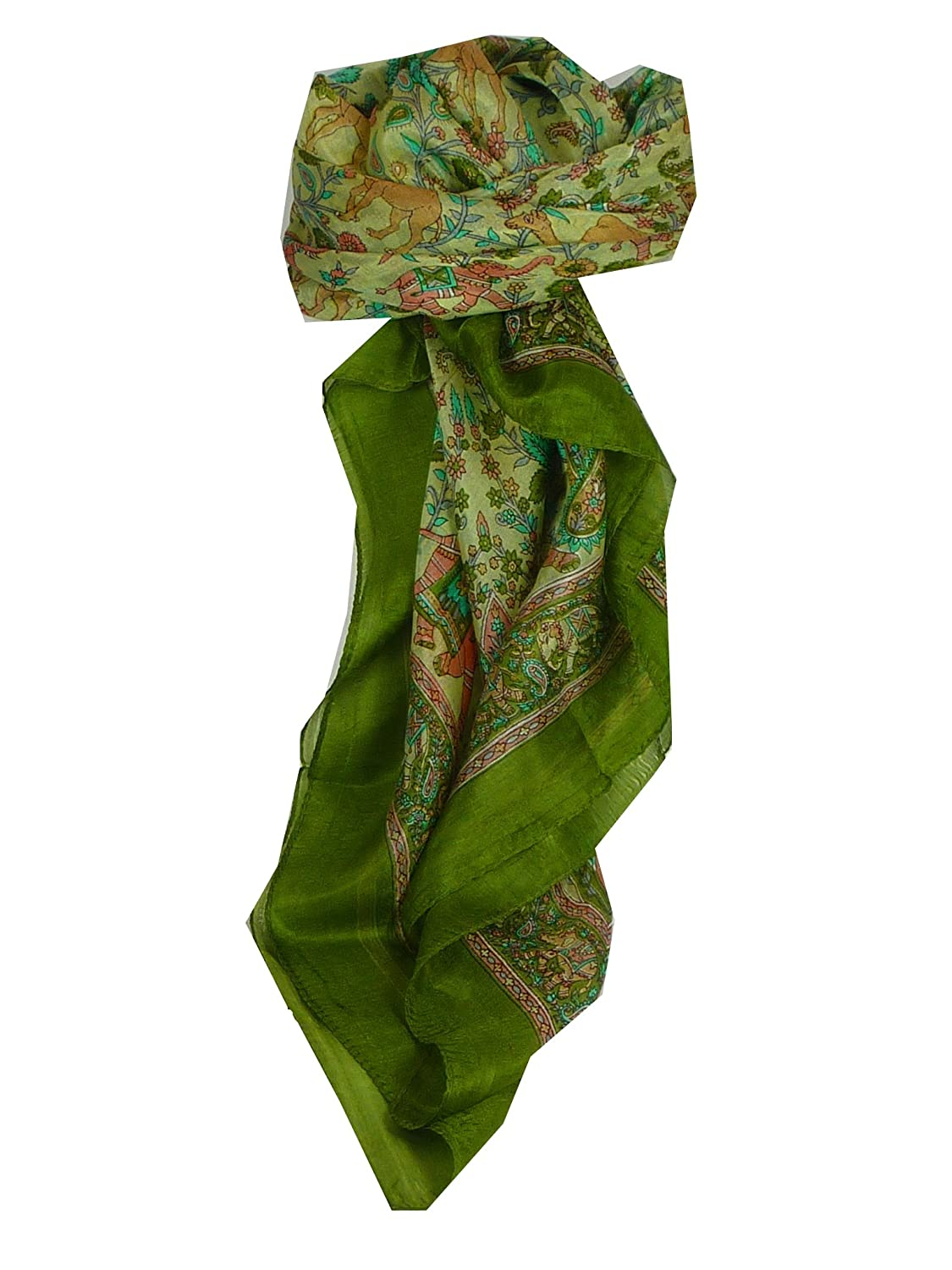 Abhan Square Sage Traditional Silk Scarf by Pashmina & Silk