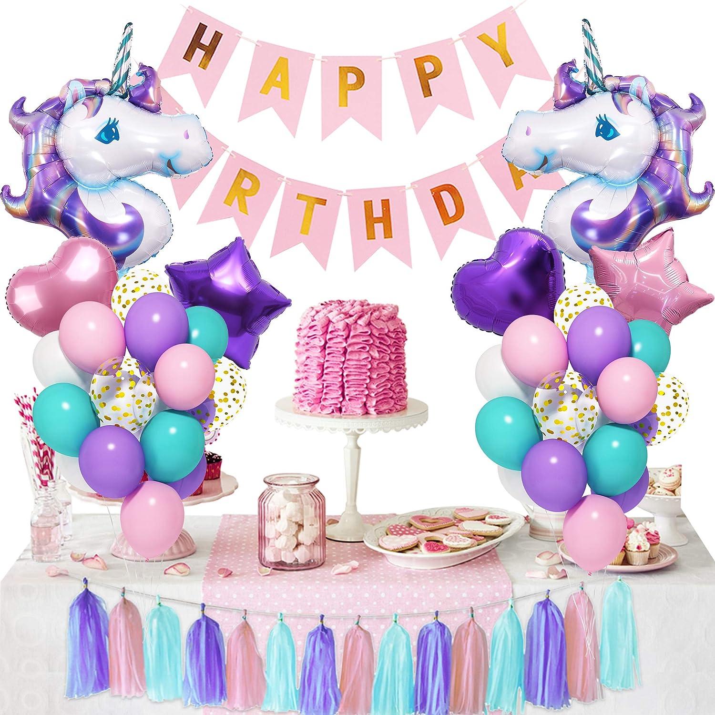 Unicorn Balloons Unicorn Party Decorations Unicorn Birthday Unicorn Party Favors Pink and Purple  Balloon Bouquet