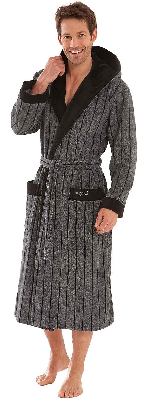 Bugatti, Herren Bademantel mit Kapuze, Grö ß e 3XL. 100% Baumwolle, Velours, grau mit schwarzen Streifen, Rocco, gestreift Morgenstern 6541