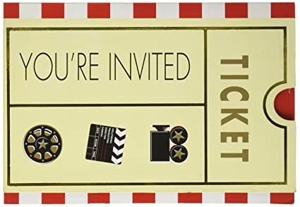 Amazon movie ticket party invitation card 7 x 4 pack of 8 movie ticket party invitation card 7quot x 4quot stopboris Gallery