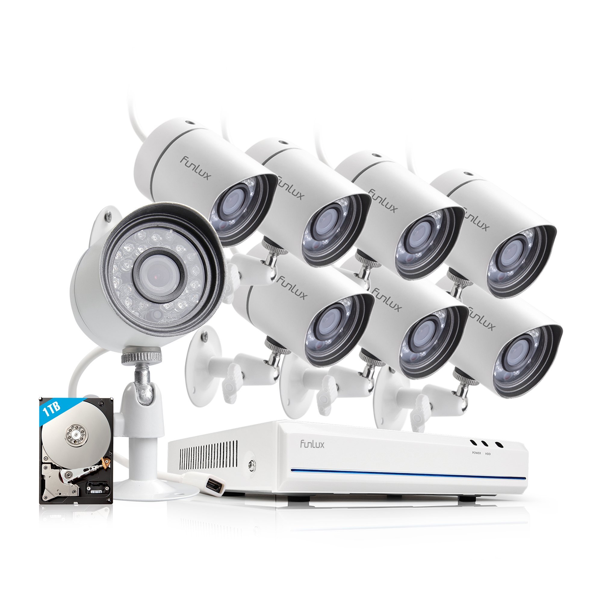 Funlux 8 Channel Full HD HDMI NVR Simplified PoE 8 720p Outdoor Indoor Security Camera System 1TB Hard Drive