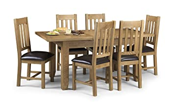 Julian Bowen Astoria Oak Extending Dining Table Set Light And 6 Chairs