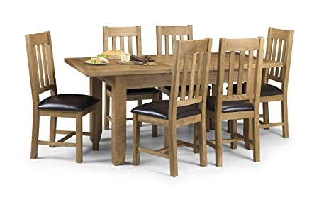 Julian Bowen Astoria Oak Extending Dining Table Set, Light Oak, Table And 6  Chairs
