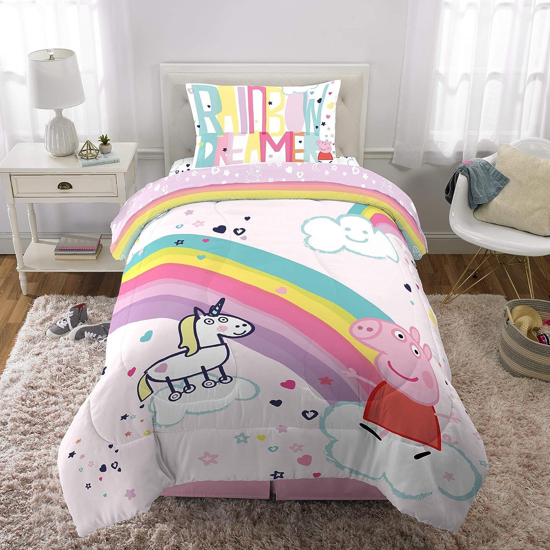 Franco Kids Bedding Super Soft Comforter and Sheet Set, 4 Piece Twin Size, Peppa Pig