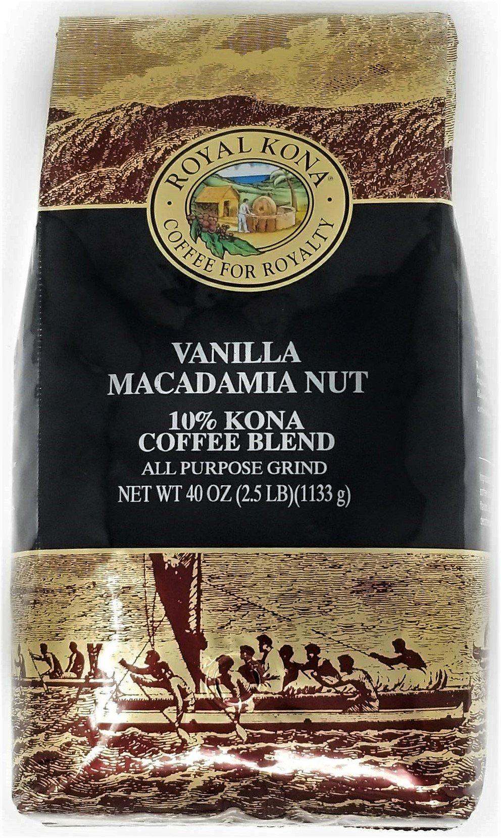 Royal Kona Coffee, Vanilla Macadamia Nut, Ground, 10% Kona Coffee Blend (40 Oz./2.5 Pound Bag) Roasted to Perfection in Hawaii