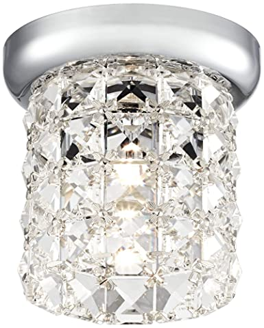 Pantheon Modern Ceiling Light Flush Mount Fixture Chrome 4 3 4 Wide Studded Crystal for Bedroom Kitchen Living Room Hallway Bathroom – Vienna Full Spectrum