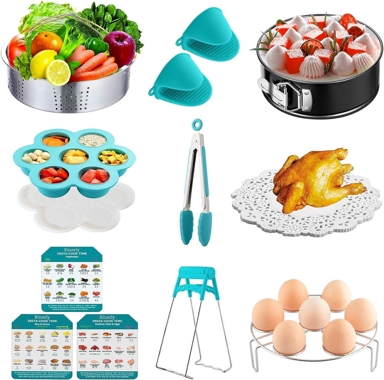 Instant Pot Accessories Compatible5 6 8Qt Instant Pot And Pressure Cooker Accessories Set- Springform Pot Steamed Egg Rack Egg Mould Kitchen Tongs Silicone Mat Oven Gloves Etc.