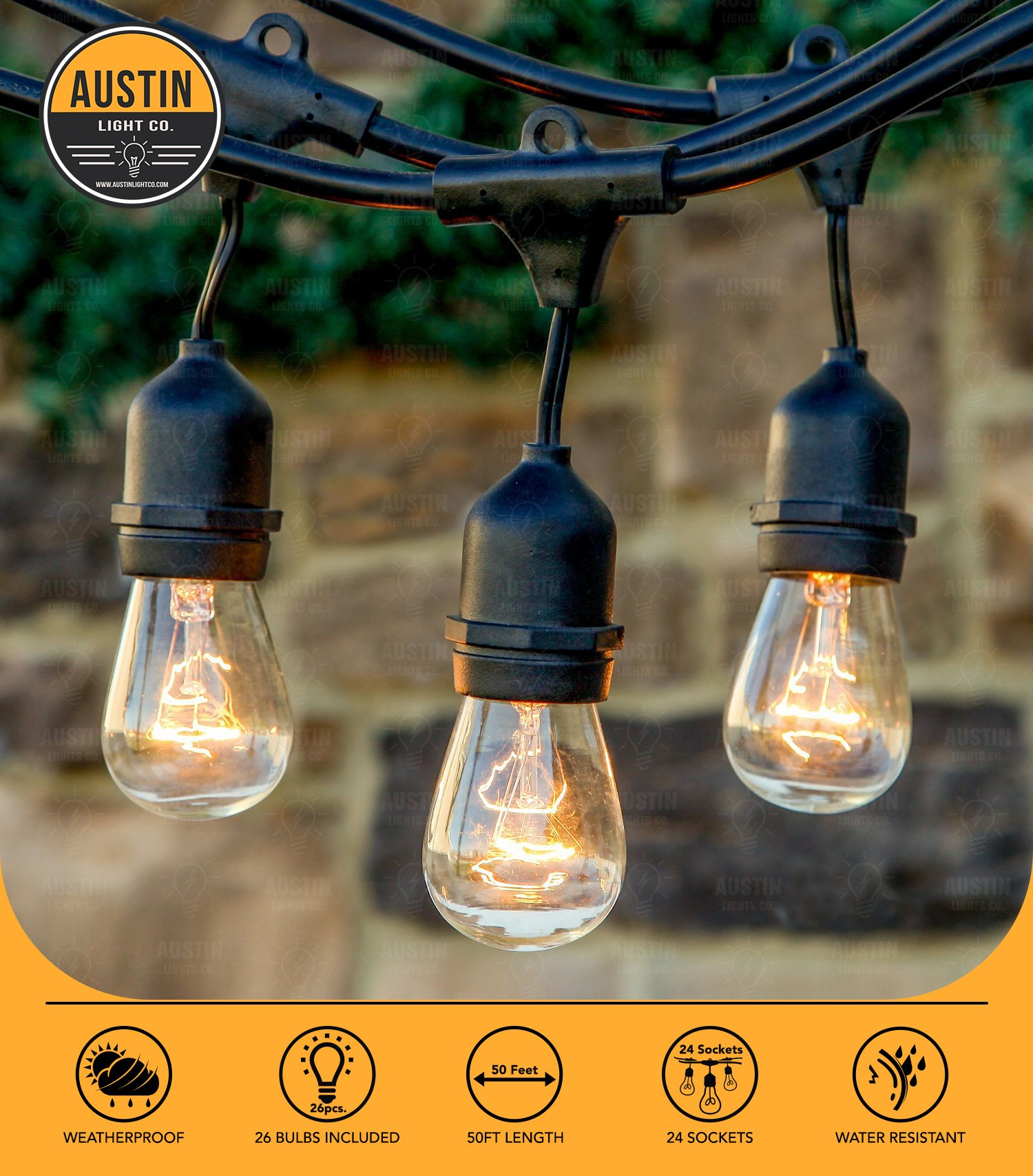 Austin Light Co. Outdoor Commercial String Globe Lights with Hanging Drop Sockets - 50ft - 24 Sockets and bulbs Outdoor or Indoor. Great for patio, cafÃ, party, home, bistro, wedding, backyard
