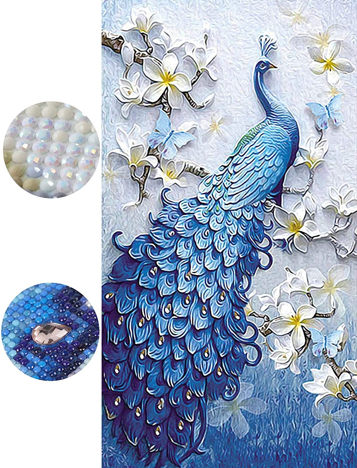 MEIAN Diamond Painting Kits for Adults Beginner Blue Peacock DIY 5D Special Shape Full Drill Art dotz Cross Stitch for Home Wall Decor 32x54cm/12.6x21.3inch