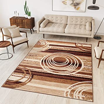 Tapiso Dream Teppich Wohnzimmer Modern Kurzflor Braun Beige Meliert Kreise  Streifen Gestreift Schlafzimmer Gästezimmer Küche ÖKOTEX 250 x 300 cm