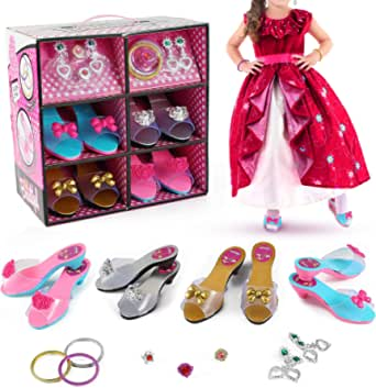 Toys for Girls, Princess Birthday Party Dress Up & Girl Toy Accessories | 4 Pairs of Shoes, 3 Bracelets, 2 Pairs of Earrings, 3 Rings, Shoe Storage Box | Kids Costume Play, Jewelry Gifts