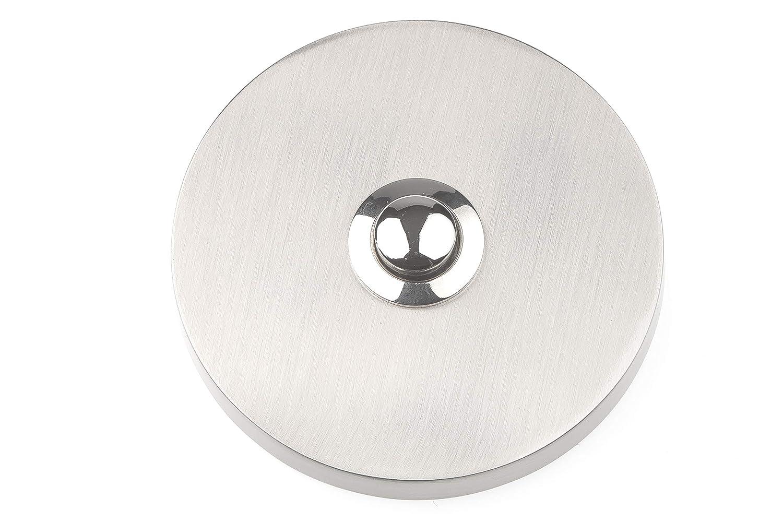 rund HUBER Klingel Klingelplatte 12010 1-fach aufputz Echtmetall