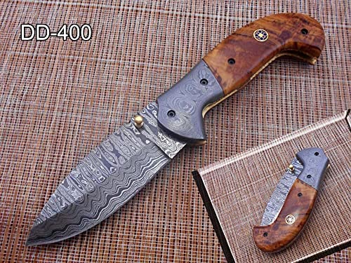 7.5 Folding Knife, Hand Forged Twist Pattern Damascus Steel Rose Wood Scale with Damascus Bolster Pocket Knife, Equipped with Brass Liner Lock Thumb knob, Cow Hide Leather Sheath