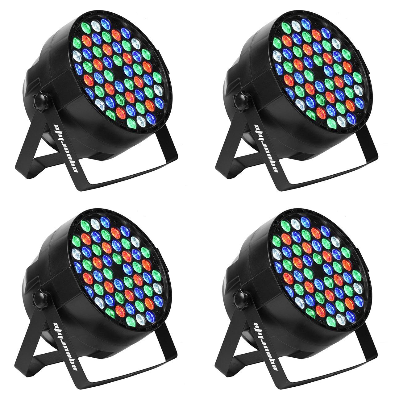 LED Par, Eyourlife LED Partylicht Bü hnenbeleuchtung Discolicht Par LED 60W Lichteffekt DMX512 RGBW Stage Light 54 LEDs (4 Stü ck) YMEU_PL54x3w_4Pc