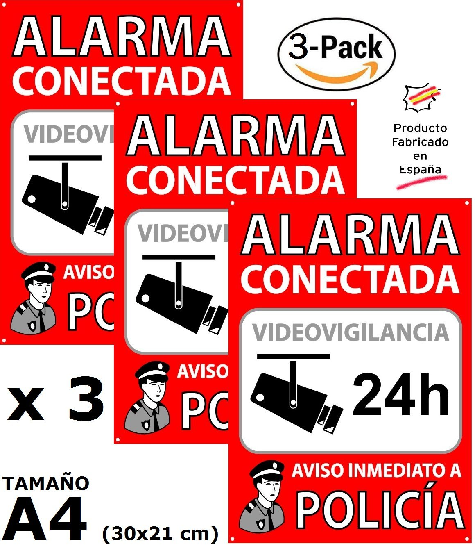 ★★★★★ Pack o Lote de 3 Carteles disuasorios A4 Interior/Exterior, Placa disuasoria PVC expandido, Cartel Alarma conectada, 30x21 cm, Rojo ★★★★★