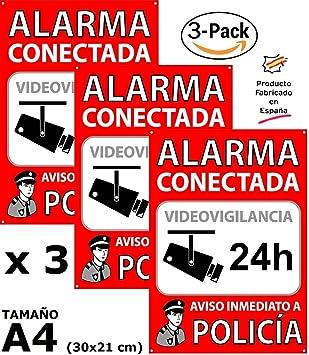 Pack o Lote de 3 Carteles disuasorios A4 Interior/Exterior, Placa disuasoria PVC expandido, Cartel Alarma conectada, 30x21 cm, ...