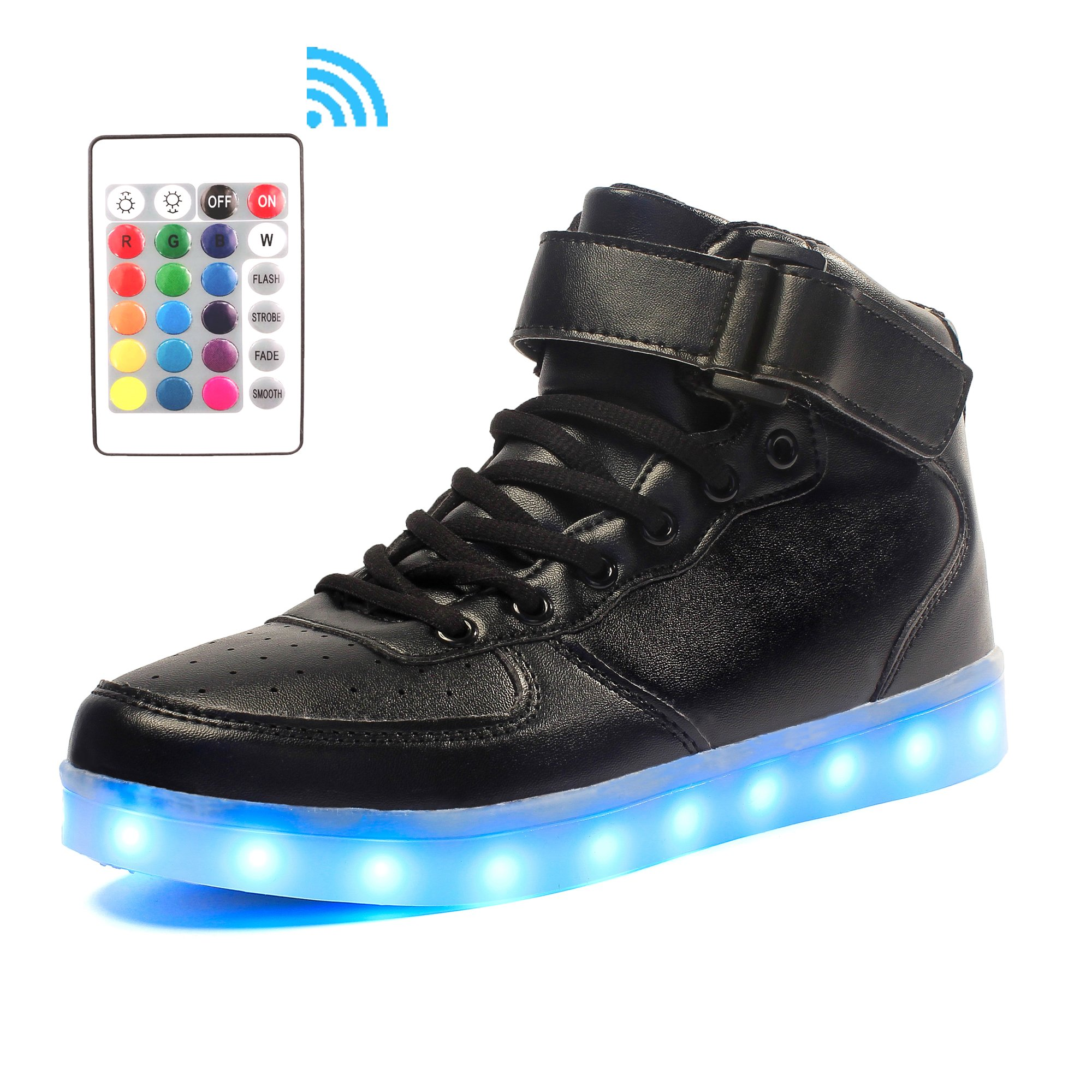 Voovix Kids LED Light up Shoes High-top Flashing Sneakers with Remote Control for Boys and Girls(Black,US10/CN28)