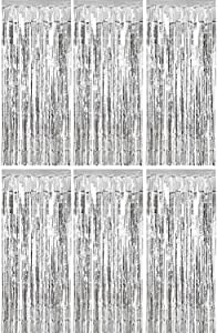 Sumind 6 Pack Foil Curtains Backdrop Fringe Tinsel Metallic Curtains Photo Backdrop for Wedding Birthday Party Stage Decor (Silver)