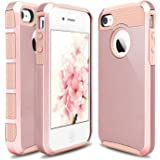 iPhone 4 Case, iPhone 4S Case, Hinpia [Seaplays] Hybrid 2 in 1 Dual Layer Shockproof Hard PC + Soft TPU Protective Cover for Apple iPhone 4S / 4 (Rose Gold/Rose Gold)