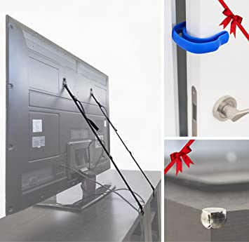 TV Child Proofing And Furniture Anti Tip Straps, With 1 Bolts Free Door  Fingers