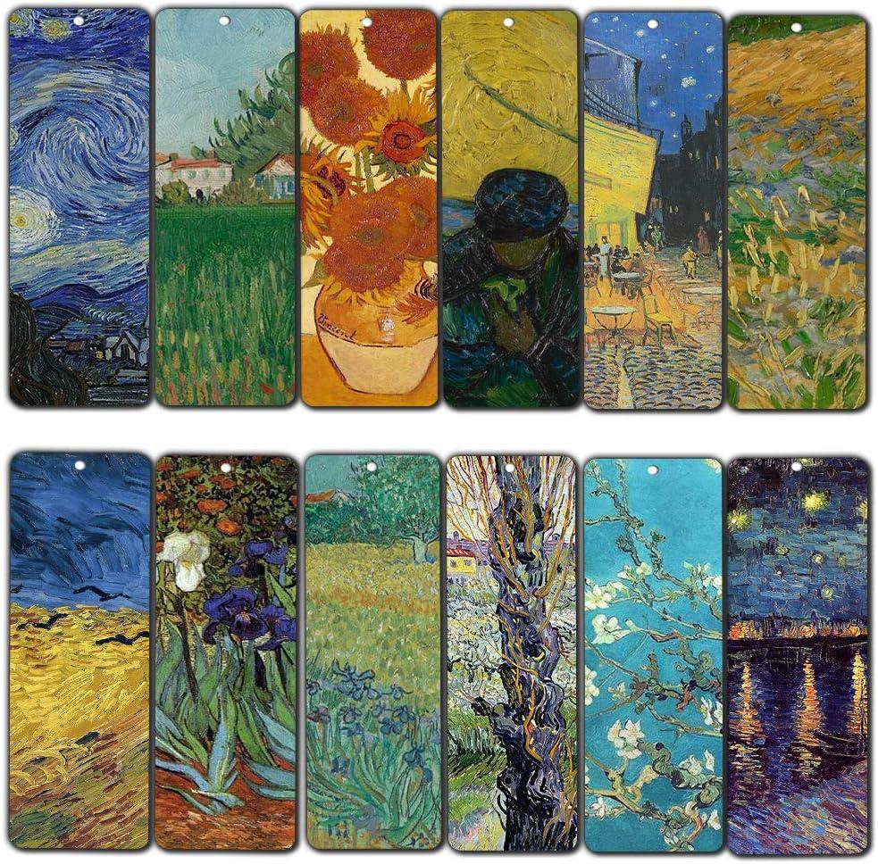 Creanoso Van Gogh Quotes Bookmarks (12-Pack) – Premium Gift Set – Inspiring Classical Art Sayings Set – Great Bookmarker Collection for Men, Women, Teens, Artists