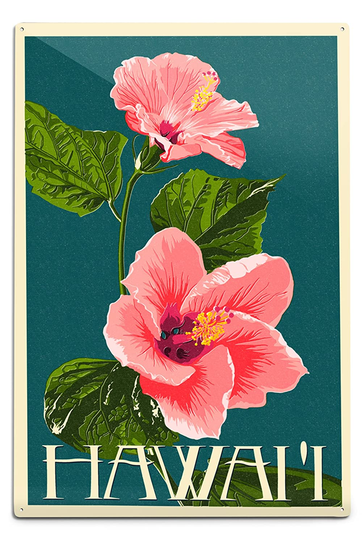 Amazon hawaii pink hibiscus flower letterpress 12x18 amazon hawaii pink hibiscus flower letterpress 12x18 aluminum wall sign wall decor ready to hang posters prints izmirmasajfo