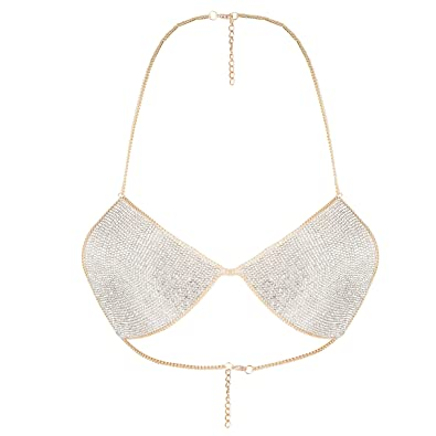 8d3061aae3 Amazon.com  lan27 Sexy Women Nightclub Bling Crystal Bra Party Body Jewelry  Bikini Beach Harness Slave Gold Color Necklace Bra  Jewelry