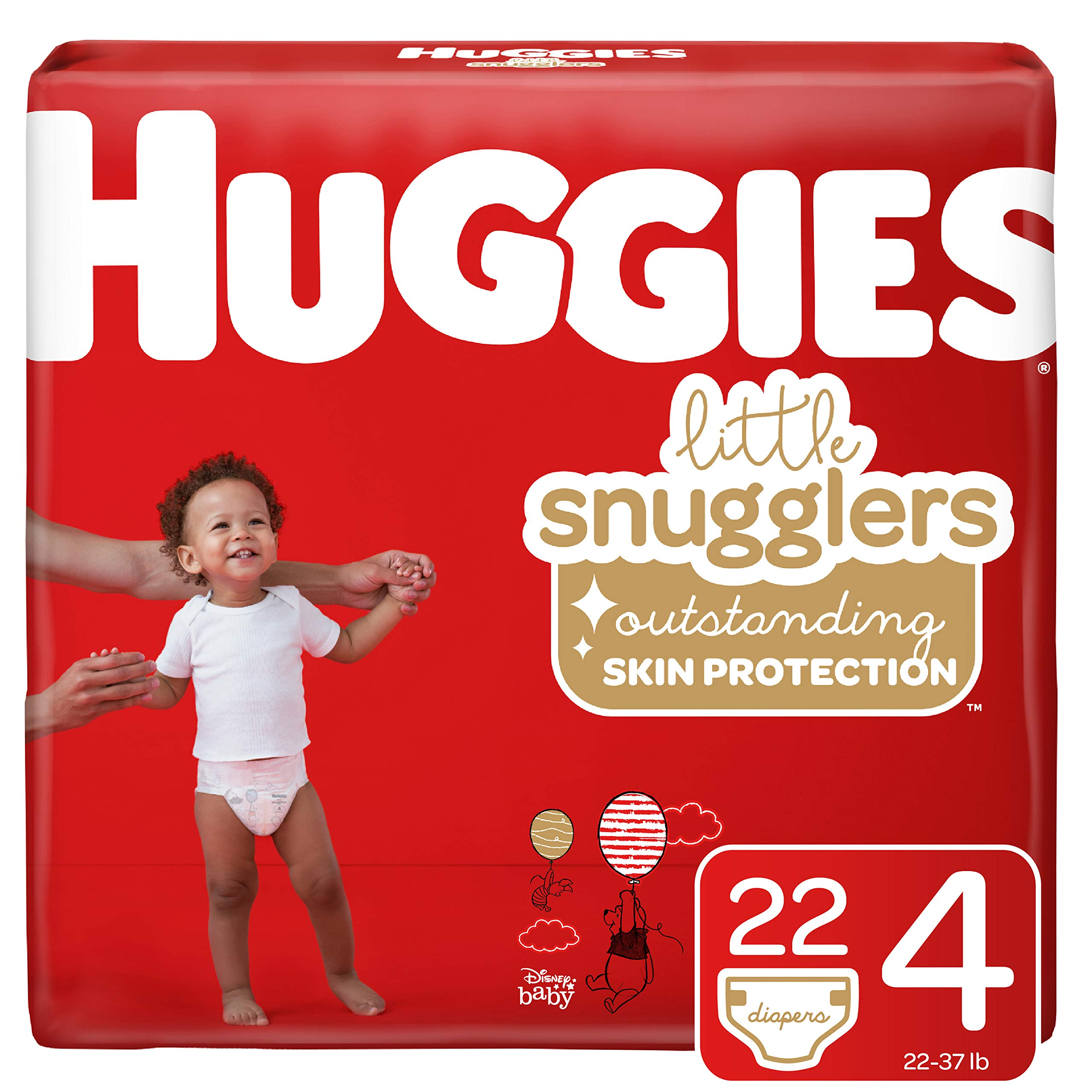 Huggies Little Snugglers Baby Diapers, Size 4 (22-37 lb.), 22 Ct, Jumbo Pack (Packaging May Vary) by HUGGIES