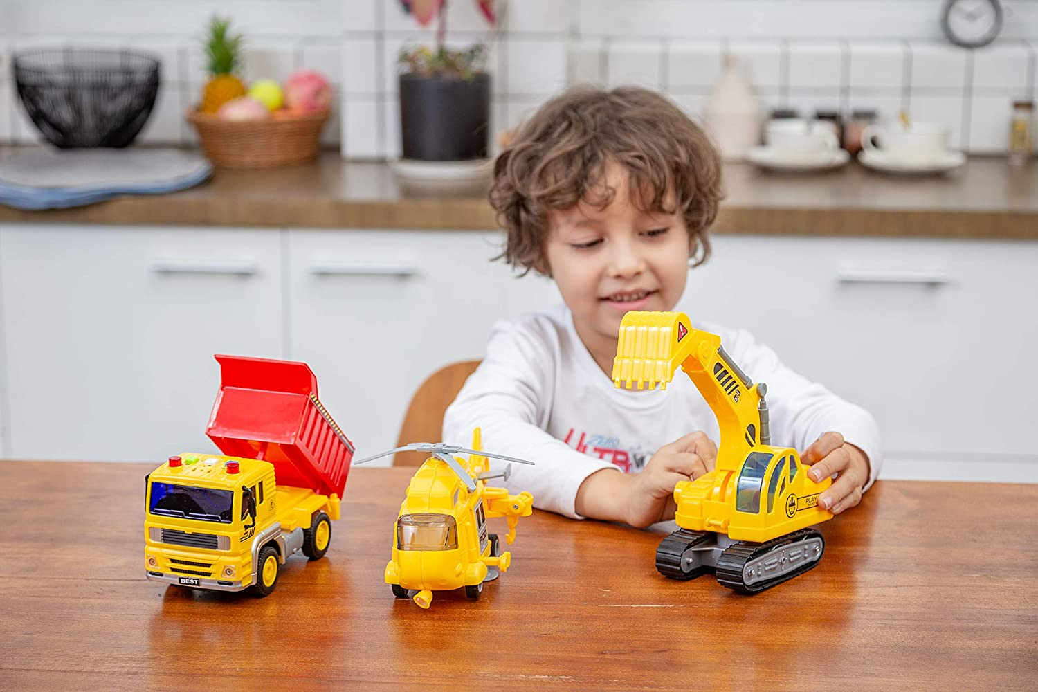 and Construction Truck with Lights and Sounds // Sirens Excavator JOYIN 3 in 1 Friction Powered City Construction Vehicle Car Set Including Helicopter