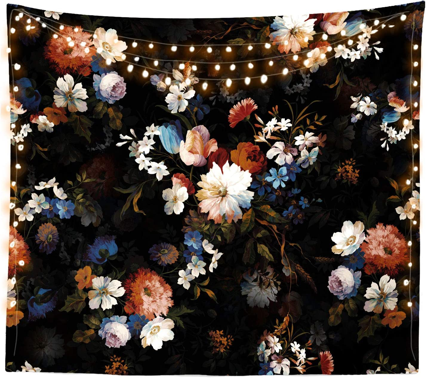 Third Goddess Tapestry Black Floral Wall Tapestry, Nature Wild Scenery Wall Hanging for Home Decor & Bedroom (50 x 60 inches)