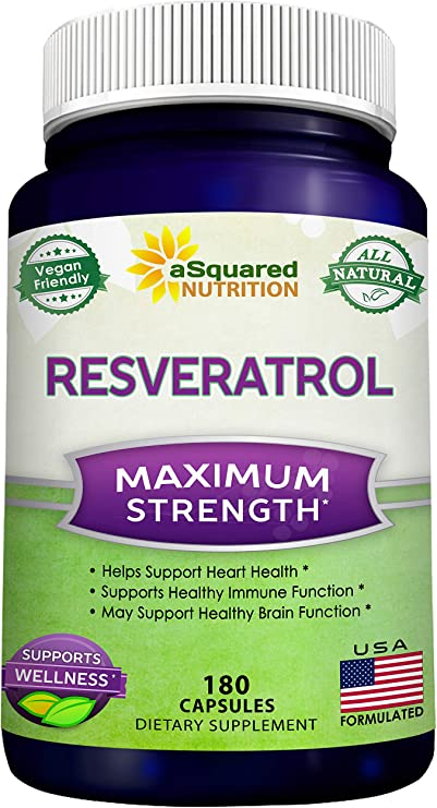 100% Natural Resveratrol - 1000mg Per Serving Max Strength (180 Capsules) Antioxidant Supplement, Trans-Resveratrol Pills for Heart Health & Pure Weight Loss, Trans Resveratrol for Anti-Aging