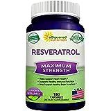 100% Natural Resveratrol - 1000mg Per Serving Max Strength (180 Capsules) Antioxidant Supplement, Trans-Resveratrol Pills for