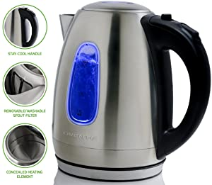 Ovente 1.7 Liter BPA-Free Stainless Steel Cordless Electric Kettle, 1100-Watts, Auto Shut-Off and Boil-Dry Protection, Matte Black Cool-Touch Handle (Silver)