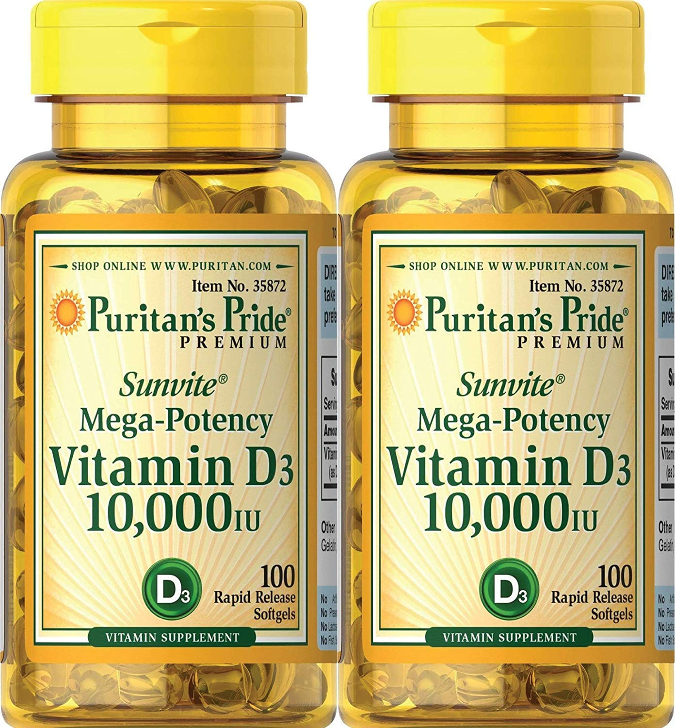 Puritans Pride Vitamin D3 10,000 IU, 100 Count (2 Pack)