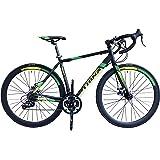 トリンクス(TRINX) 【ロードバイク】ダブルディスクブレーキ Shimano シマノ21Speed 軽量 アルミフレーム700C TEMPO1.1-18ディスクブレーキロードエントリーモデル TEMPO1.1 ブラック/グリーン 460mm