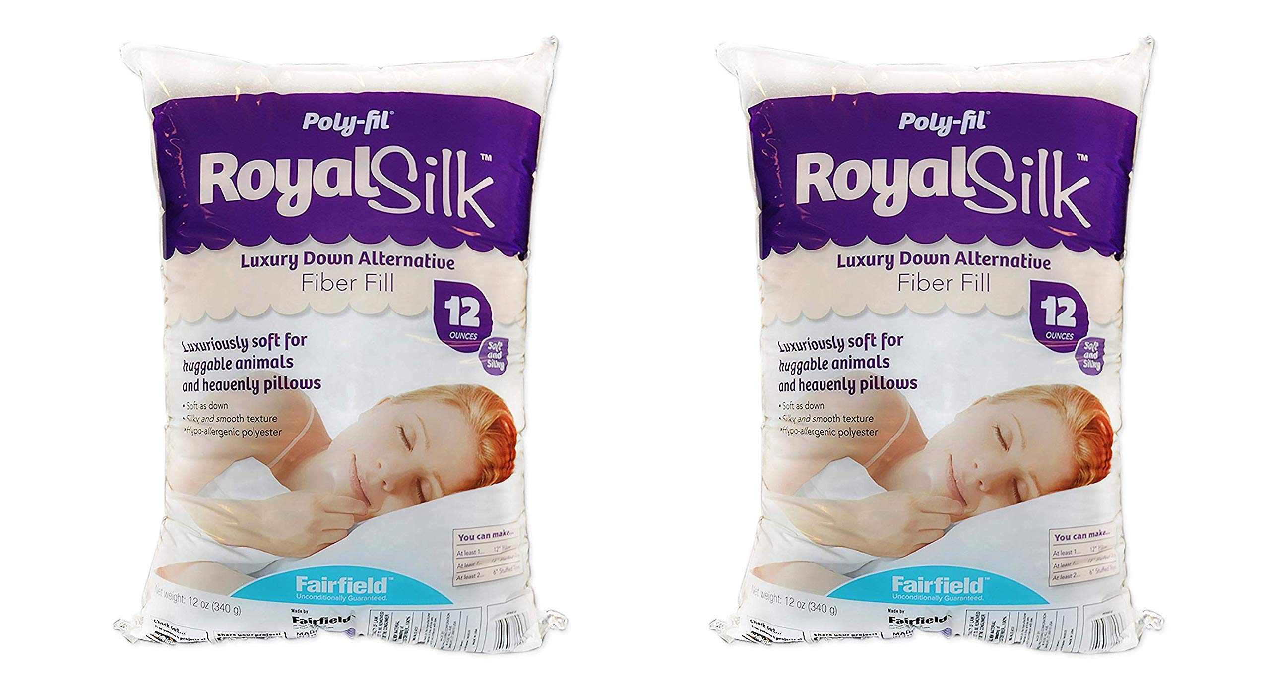 Fairfield PFRS12 Poly-Fil Royal Silk Fiber Fill Bag, 12 oz, White (Twо Pаck) by Fairfield