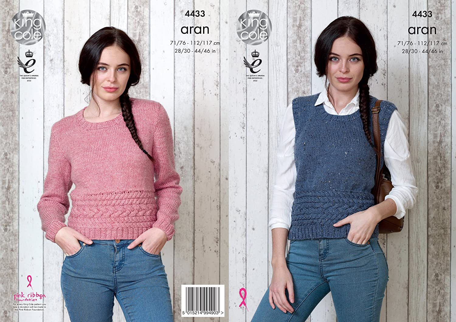 King Cole Ladies Knitting Pattern Womens Cable Detail Slipover & Sweater Big Value Aran (4433)