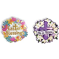 13 Glitter 3D Layered Easter Religious Decorations Easter Blessings /& He is Risen - Wreath Set Easter Blessings /& He is Risen- Set of 2 Plum Nellies Treasures Easter Wreath