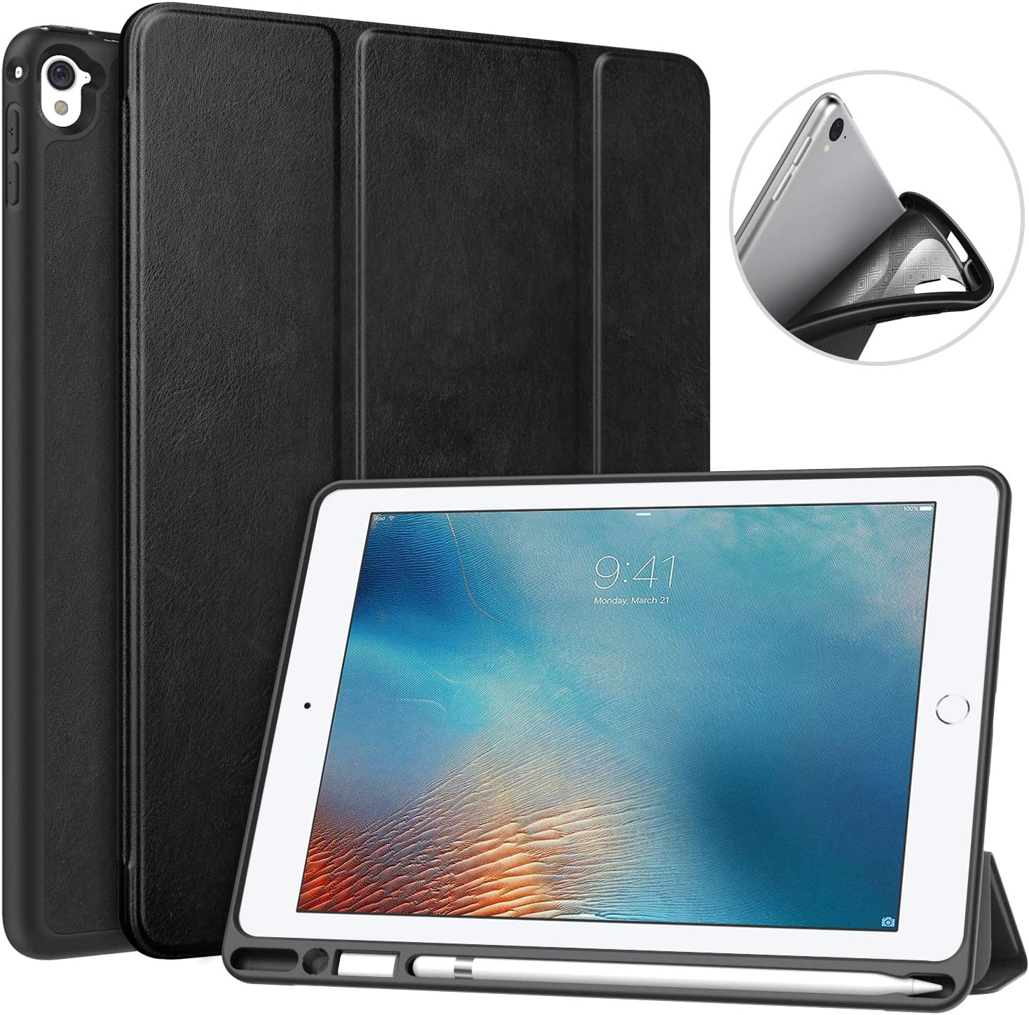Amazon Com Moko Case Fit Ipad Pro 9 7 With Pencil Holder Slim Lightweight Smart Shell Stand Cover Case With Auto Wake Sleep Fit Ipad Pro 9 7 Inch 2016 Tablet Black Computers Accessories