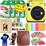 Fujifilm instax Mini 70 Instant Film Camera (Canary Yellow) + Fujifilm instax Mini Instant Film (40 Sheets) + Custom Case + Assorted Frames + Photo Album + 60 Colorful Sticker Frames + HeroFiber